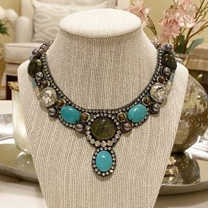 Anthropologie Rare Crystal turquoise bib necklace
